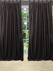 "2 Brown Crushed Velvet Feel Curtains Panel Solid Drapes-Pair Tabs Window Treatment Living Room Bedroom Decor 108"" - mogulgallery"