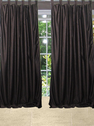 "2 Brown Curtains  Crushed Velvet Feel Panel Drapes- Pair Tab Tops Window Treatment Bedroom Living Room Decor 84"" - mogulgallery"