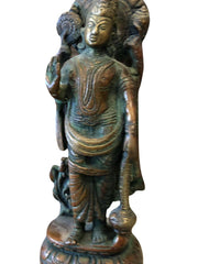 Vintage Carved Statue Standing Four Armed Lord Vishnu - Brass Sculpture - mogulgallery