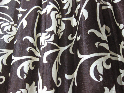 2 Boho Farmhouse Curtain Drapes, Tab top, Coffee Brown Floral Printed Window Treatment, Door Panel 84 - mogulgallery