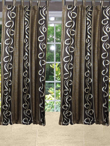 2 Boho Curtains, Brown Beige Window Panels, Tab Top Window Treatment Drape, Farmhouse Home Decor 108 - mogulgallery