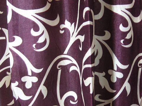 "2 Curtain Floral Printed Panels Crushed Velvet FeeL Plum Tab Top Window Treatment Drapes Bohemian Decor 96"" - mogulgallery"