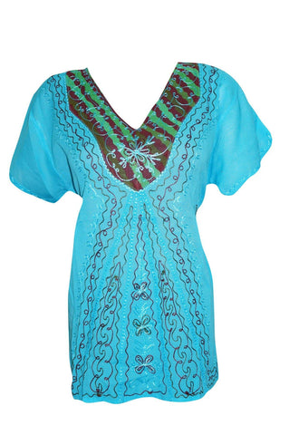 Sky Blue Top Floral Embroidered V-Neck Boho Hippie Cover Up Summer Beach Blouse Tunic Tops  L - mogulgallery