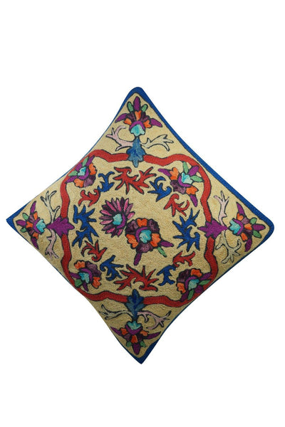 "Sofa Cushion Covers Colorful Suzani Embroidered Handmade Indian Toss Pillow Sham 16"" x 16"" - mogulgallery"