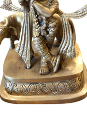 Antique Brass Indian Hindu God Lord Krishna Statue Playing Flute with Cow Figurine Sculpture Altar Decor - mogulgallery