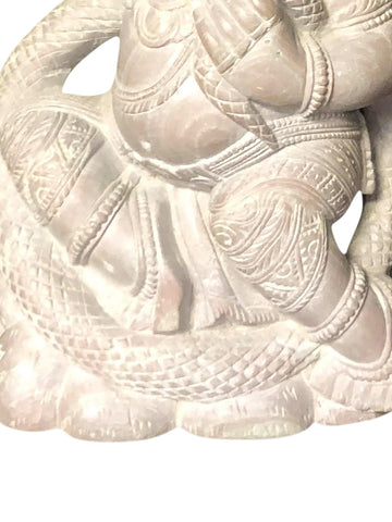 Kundalini Ganesha Spiritual Hand Carved Stone Statue Playing With Cymbals - mogulgallery