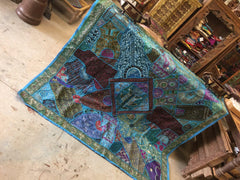 Brilliant Handmade Zardozi Tapestry Embroidered Patchwork Boho Blue Throw Wall Hanging 90X 80 - mogulgallery