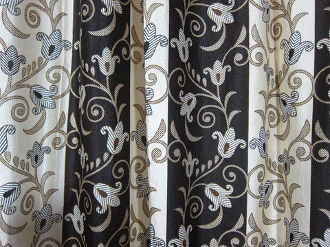 "Indian Window Curtain Drape Panels Rod Pocket Set of 2 Brown Beige Tab Top Curtains 102"" - mogulgallery"