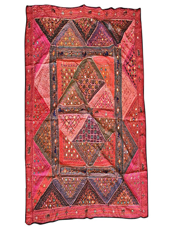 Indian Tapestry Red Banjara Vintage Bohemian Wall Hanging Throw 90 X 80 - mogulgallery