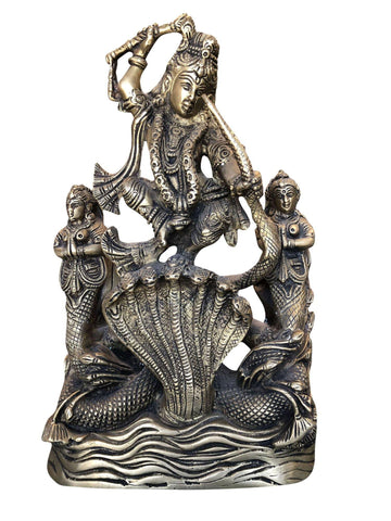Antique Krishna Dancing On Serpent Kaliya, handcrafted brass idol, yoga at home, spiritual design, eclectic gift idea - mogulgallery