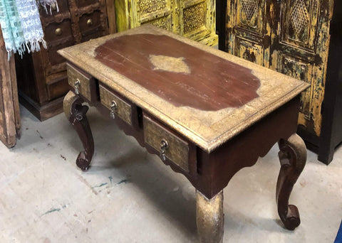 Vintage Brass Cladded Table, Ornate Console Table, Brass Carving Table with Cabriole legs, Accent Side table - mogulgallery