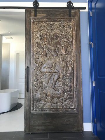 Vintage KAMASUTRA Carved Wood Door Panel Beautiful Rustic Panel, Wall Sculpture, Eclectic Interior Decor - mogulgallery
