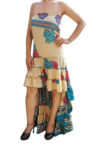 Gypsy Boho Womens Hi Low Maxi Dress Floral Recycled Sari Coachella Flowy Printed Strapless Frilled Resort Dresses M/L - mogulgallery