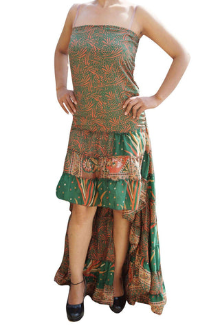 Boho Maxi Dress, Strapless dresses, Recycled Sari dress, Green Printed Flowy Coachella Dresses Bohemian Fashion ML - mogulgallery