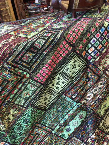 Authentic Artisan Wall Tapestry Headboard Green Kutch Embroidered Patchwork Bohemian Throw 90 X 80 - mogulgallery