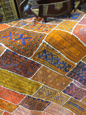 Orange Vintage Tapestry Embroidered Headboard Bohemian Kutch Throw Wall Hanging 90X 80 - mogulgallery