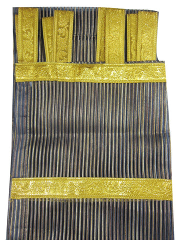 2 Boho Indi Curtains, Navy Blue Gold Stripes Curtains Sheer Panels Golden Tab Window Treatment, Canopy Bed Panels - mogulgallery