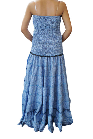 Boho Gypsy Maxi Dress Swirling Hi Low Dresses Blue Recycled Sari Printed Strapless Hippie Maxi Dresses IBIZA FASHION M/L - mogulgallery