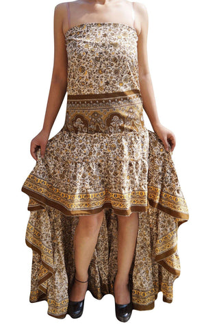 Womens MAxi Dress Strapless Floral Hi Low Dresses Recycled Sari Brown Printed Handmade Coachella Dresses M/L - mogulgallery