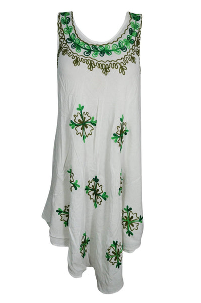 Women's White Dress, Bohemian Caftan, Soft Beach Sundress, Floral Embroidered dress, Loose Flare Sleeveless Flowy Cover up SML - mogulgallery