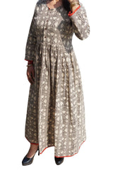 Boho Dresses, Boho Maxi dress, Free and Easy Brown Handloom Cotton Printed Flare Long Dress Round Neck Maxidress S - mogulgallery