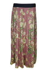 Womens MAxi Skirt Pink Floral Printed Summer Comfy Hippie Maxi Skirt A-Line Flared Long Skirts ML - mogulgallery