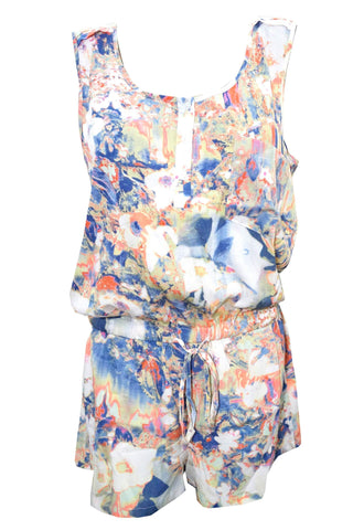 Women's Bohemian Romper Mystic Waters Print Short Romper Jumpsuit Dress S - mogulgallery