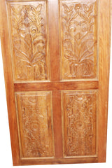 OLd World Antique Doors, Artisan Carved Barndoor, Teak Wood Panels, Rustic Farmhouse Doors, Architectural Design, PAIR 96x36 EACH - mogulgallery