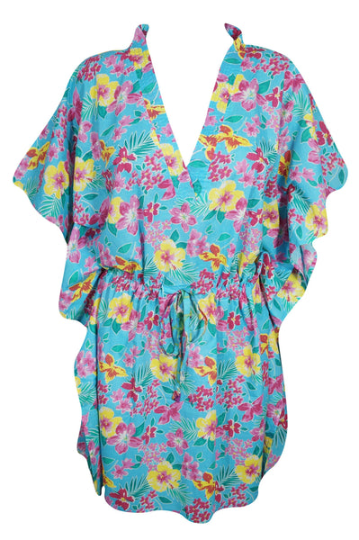 Boho Blue Womens Caftan Cotton Printed Floral Top Dress Casual Loose Plus Size Kaftan 3XL - mogulgallery
