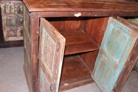 Rustic Vintage Sideboard, Old Spanish Style Buffet, TV Media Chest, Old World Elements Blue  Doors, Farmhouse Kitchen Cabinet Storage - mogulgallery