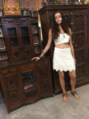 Women's Wrap around Skirt with halter Top Ivory Beaded Trendy Boho Beach Festival Ibiza Skirts onesize - mogulgallery