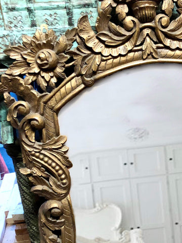 Wall Mirror Gilted, Ornate Beautiful Medieval Mirror Antique Gold Solid Wood Carved Mirror Wall Decor CLEARANCE - mogulgallery