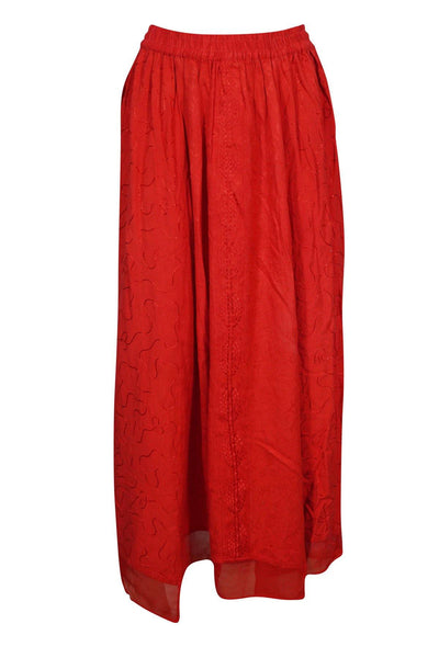 Women's Maxi Skirts Red Bohemian Embroidered Rayon Solid Casual Boho Long Skirt S/M - mogulgallery