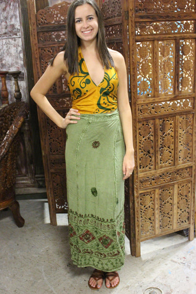 WOMENS Green Wrap skirt,Embroidered Skirt, Sari Halter Top, Boho Hippy Gypsy SM, 2 Pc Set - mogulgallery