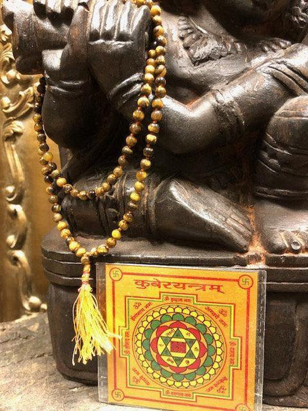 Wealth Altar, Tiger eye Mala beads, Prosperity Meditation Yoga Necklaces, Gold Plated Kuber Yantra - mogulgallery