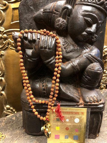Natural Rudraksha Mala Beads, Yoga Necklace, Rahu Ketu, 9 PLANET NAVGRAHA YANTRA - mogulgallery