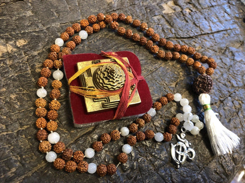 Buddhist Prayer Rudraksha White Moon STONE , Healing Meditation Mala, Bring Fortune With Brass Meru Sri YANTRA, Goddess Altar - mogulgallery