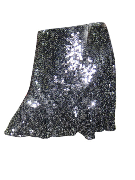 Women's Black Sequin Skirt , Retro 70s Gatsby Bohemian Beaded Mini Skirts S/M - mogulgallery