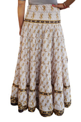 Floral Hi Low Skirt High Waist Printed Sari Comfy Bohemian Tiered Full Flare Summer Beach Sexy Skirts S/M - mogulgallery