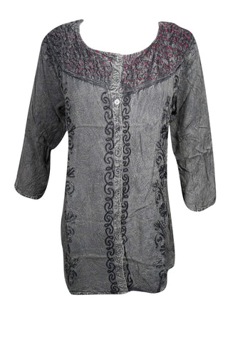 Bohemian Tunic Top,Grey Embroidered Top,Stone Wash Button Front Tunic Top,Gypsy Blouse L - mogulgallery