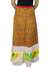 Women's Maxi Skirt, Printed Floral Gold Cotton Skirt, Casual Summer Bohemian Long Skirts S/M - mogulgallery