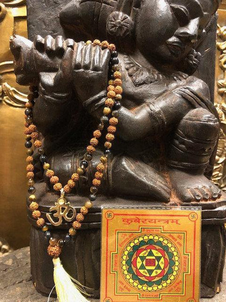 Rudraksha Tiger eye combination mala for Power and Confidence,With Gold Plated Kuber Yantra - mogulgallery