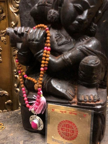 108 Rudraksha Pink Jade Mala Prayer Beads, Buddhist Meditation Mala, Beaded Yoga Necklace, Surya Yantra Altar - mogulgallery