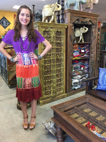 Bohemian DRESS , Gypsy Chic Dresses Summer Soft Chic Comfy Tie Dye Rayon Cover Up Dresses SML - mogulgallery