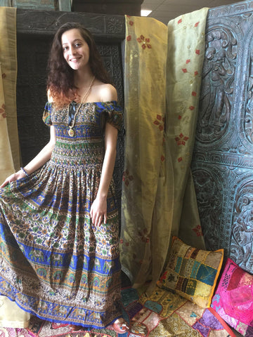 Womens Maxi Dress, Off Shoulder Cotton Printed Summer Dress, Printed Gypsy Hippie Chic Long Dress M/L - mogulgallery