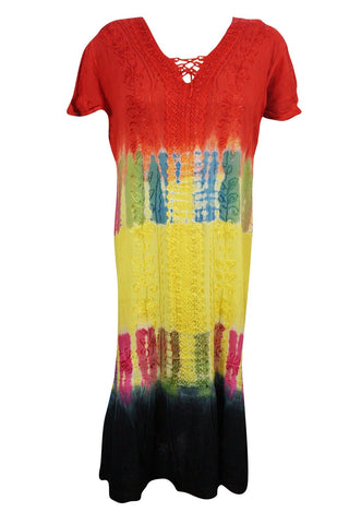 Womens Short Sleeve Tank Dress Beach Cover Up Tie Dye Colorful Boho Style Dresses - mogulgallery