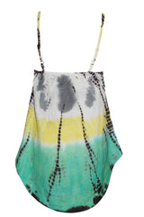 Women's Strappy Tank Top Gypsy Multi color Tie-Dye Embroidered V Neck Blouse XS - mogulgallery