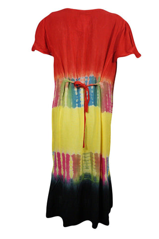 Womens SUMMER Dress Tank Dress Beach Cover Up Tie Dye Colorful Boho Style Dresses SML - mogulgallery