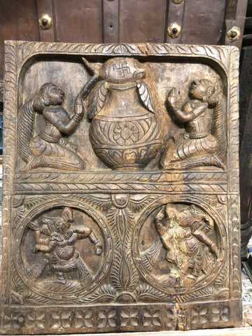 Vintage Carved Wood Ganesha Wall Panel Indian Art, Yoga Sculpture, Wall Art MINDFUL Decor - mogulgallery