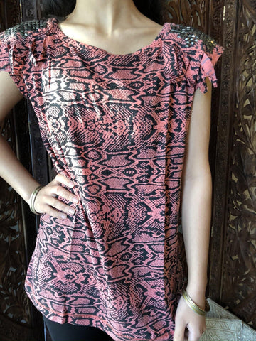 Women's Blouse Vintage Retro 70s Summer Top Pink Black Bohemian Gypsy Fringes and Studs, Blouse Tops S - mogulgallery